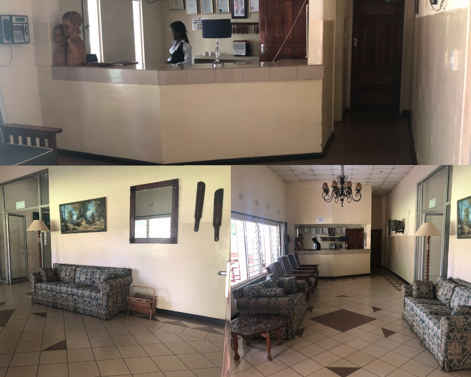 Spruce Interiors Zambian Guesthouse Reception Area Before pictures